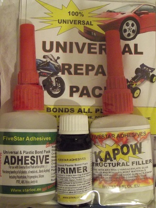 Universal glue bond adhesive repair pack metal all plastics ptfe  polyethylene polypropylene silicone